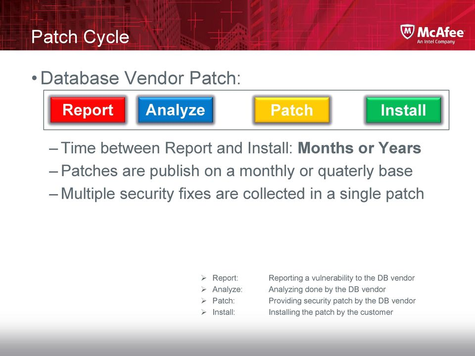 collected in a single patch Report: Analyze: Patch: Install: Reporting a vulnerability to the DB