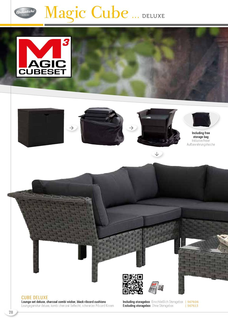 deluxe Lounge set deluxe, charcoal combi wicker, black ribcord cushions