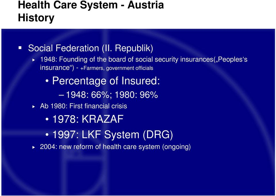 insurance ) - +Farmers, government officials Percentage of Insured: 1948: 66%; 1980: