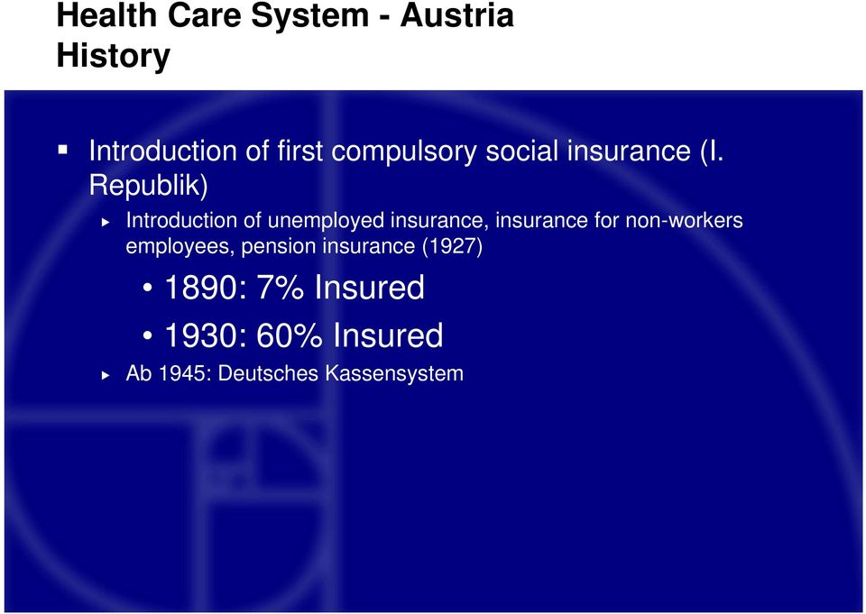 Republik) Introduction of unemployed insurance, insurance for