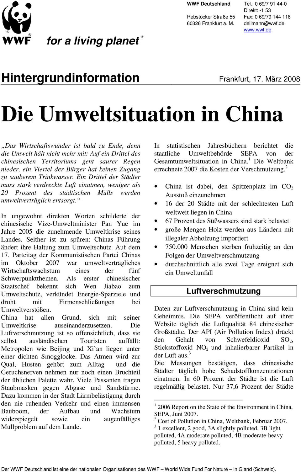 Die Umweltsituation in China - PDF