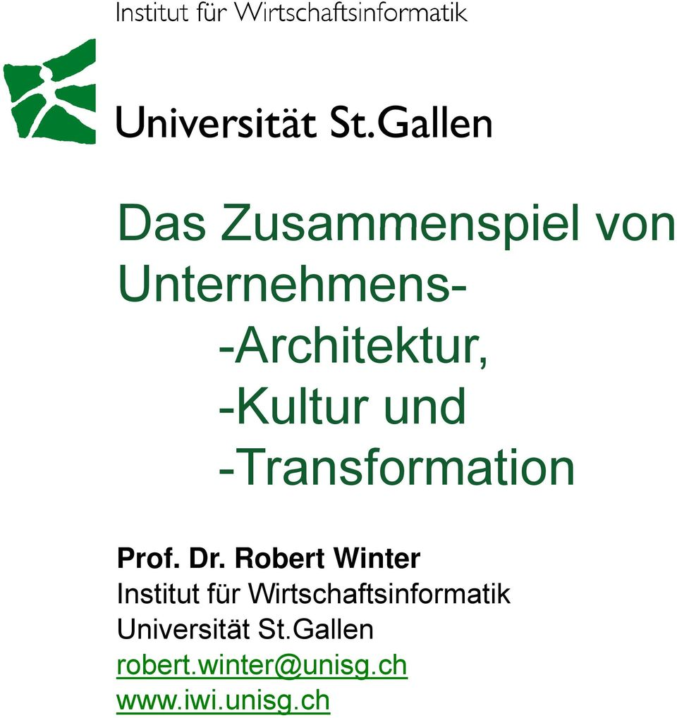 Robert Winter Prof. Dr.