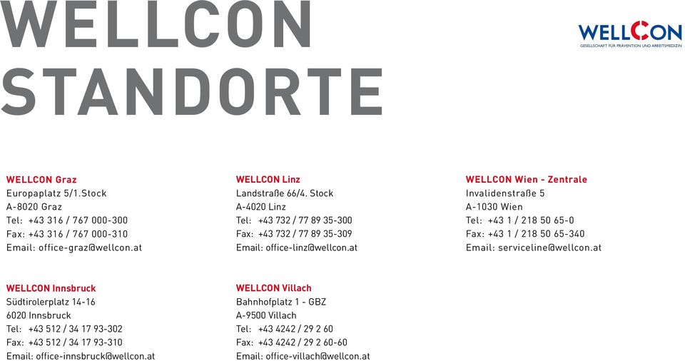 Stock A-4020 Linz Tel: +43 732 / 77 89 35-300 Fax: +43 732 / 77 89 35-309 Email: office-linz@wellcon.