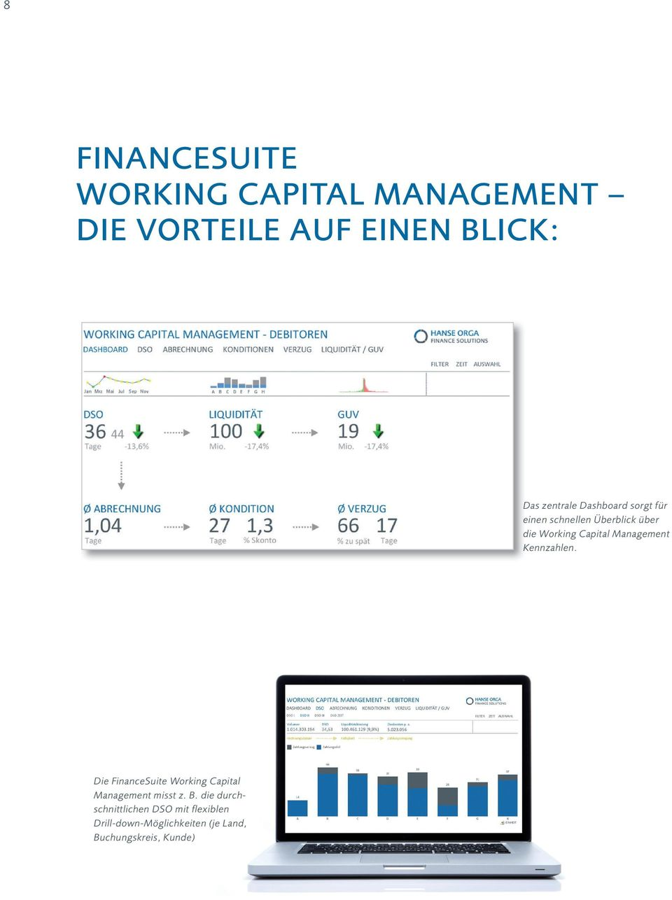 Management Kennzahlen. Die FinanceSuite Working Capital Management misst z. B.
