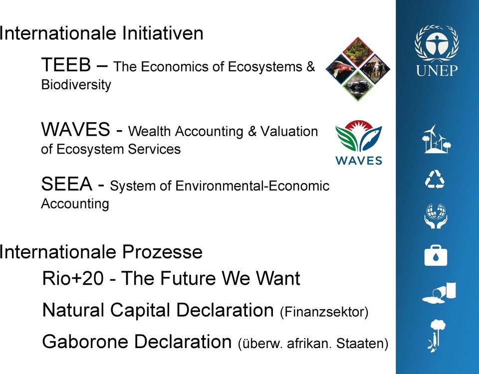 Environmental-Economic Accounting Internationale Prozesse Rio+20 - The Future We