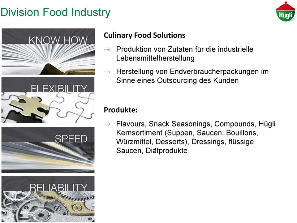 eines Outsourcing des Kunden Produkte: Flavours, Snack Seasonings, Compounds, Hügli