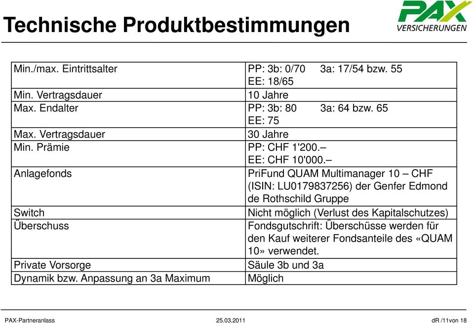 Anlagefonds PriFund QUAM Multimanager 10 CHF (ISIN: LU0179837256) der Genfer Edmond de Rothschild Gruppe Switch Überschuss Private Vorsorge Dynamik bzw.