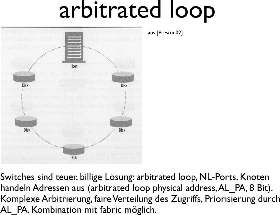Knoten handeln Adressen aus (arbitrated loop physical address, AL_PA, 8
