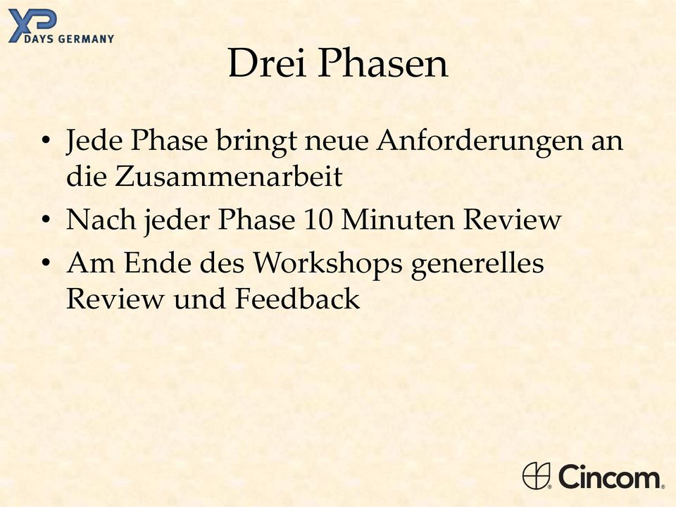 Nach jeder Phase 10 Minuten Review Am