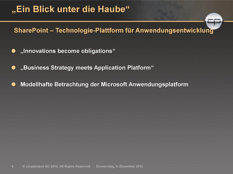 Strategy meets Application Platform Modellhafte Betrachtung der