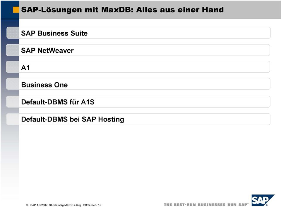 Default-DBMS für A1S Default-DBMS bei SAP Hosting