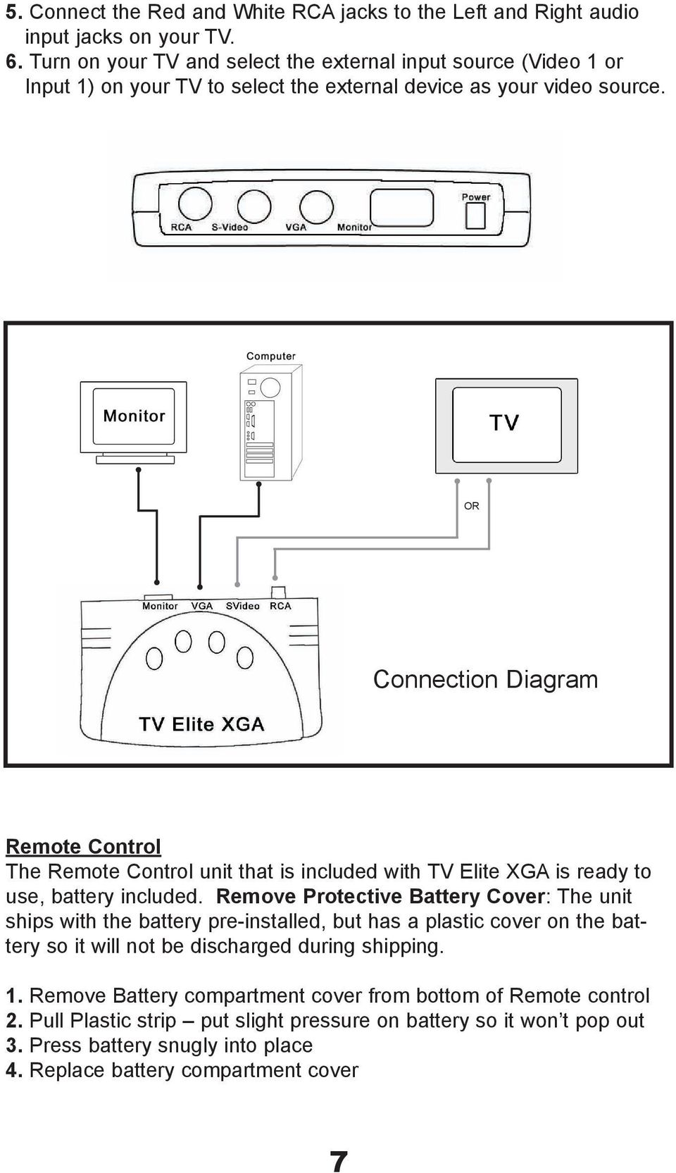OR Connection Diagram Remote Control The Remote Control unit that is included with TV Elite XGA is ready to use, battery included.