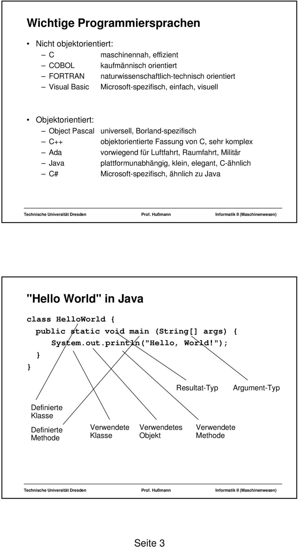 "Luftfahrt, Raumfahrt, Militär Java plattformunabhängig, klein, elegant, C-ähnlich C# Microsoft-spezifisch, ähnlich zu Java ""Hello World"" in Java class HelloWorld { public static"