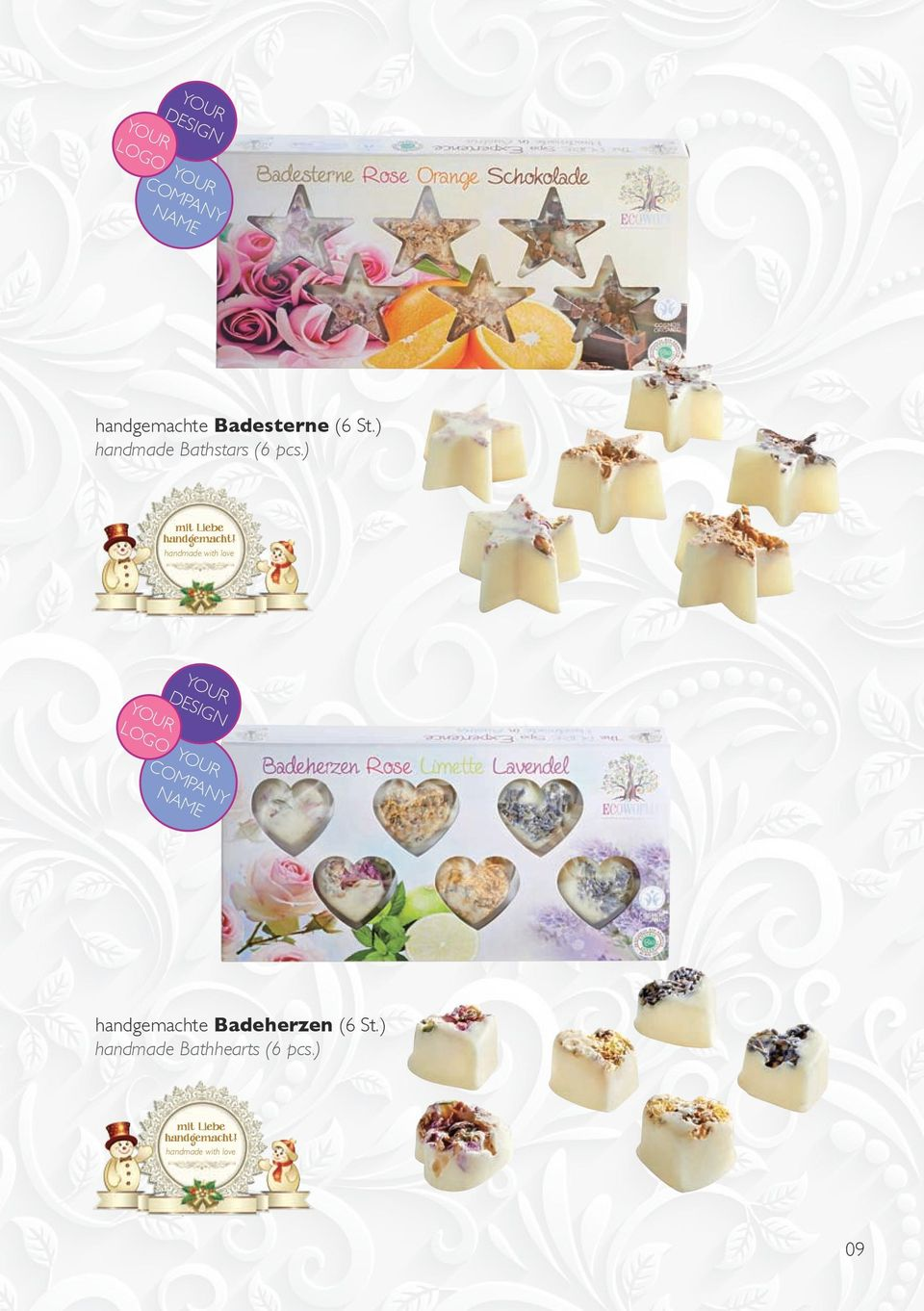 handmade with love design handgemachte Badeherzen (6 St.
