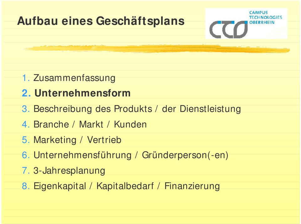 Branche / Markt / Kunden 5. Marketing / Vertrieb 6.