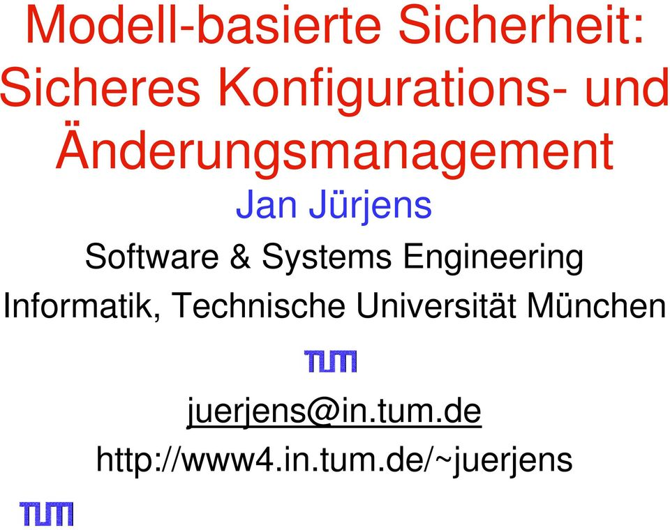 Systems Engineering Informatik, Technische
