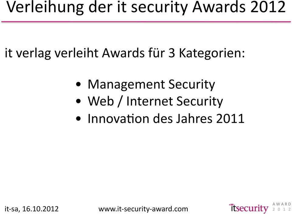 Web / Internet Security InnovaKon des Jahres 2011 it-