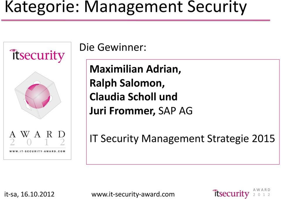 SAP AG IT Security Management Strategie 2015 it- sa, 16.