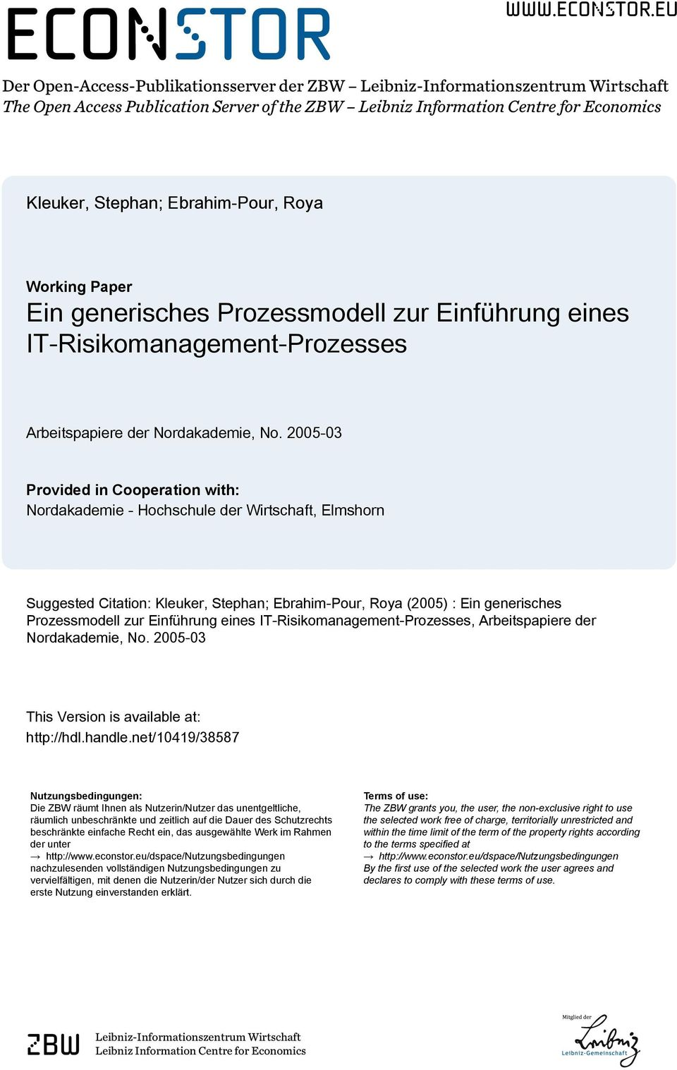 eu Der Open-Access-Publikationsserver der ZBW Leibniz-Informationszentrum Wirtschaft The Open Access Publication Server of the ZBW Leibniz Information Centre for Economics Kleuker, Stephan;