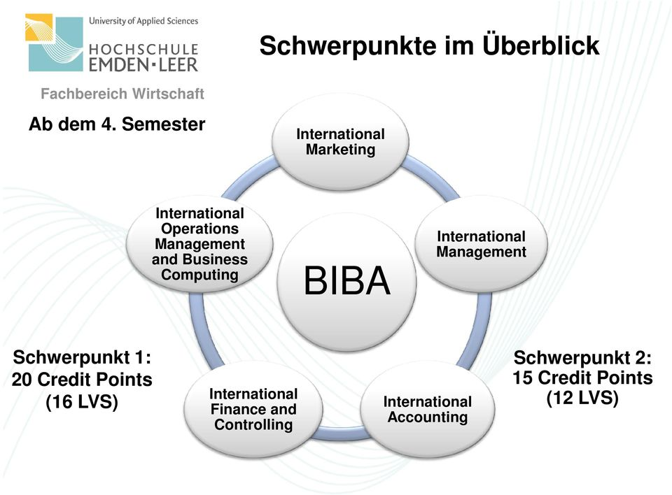 Computing BIBA International Management Schwerpunkt 1: 20 Credit Points (16 LVS)