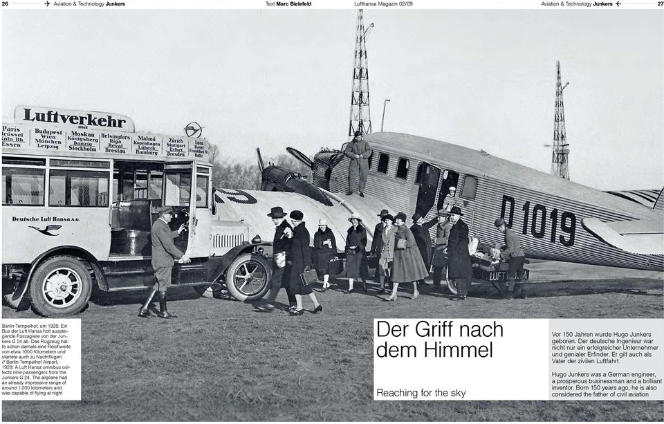 Das Flugzeug hatte schon damals eine Reichweite von etwa 1000 Kilometern und startete auch zu Nachtflügen // Berlin-Tempelhof Airport, 1928: A Luft Hansa omnibus collects nine passengers from the