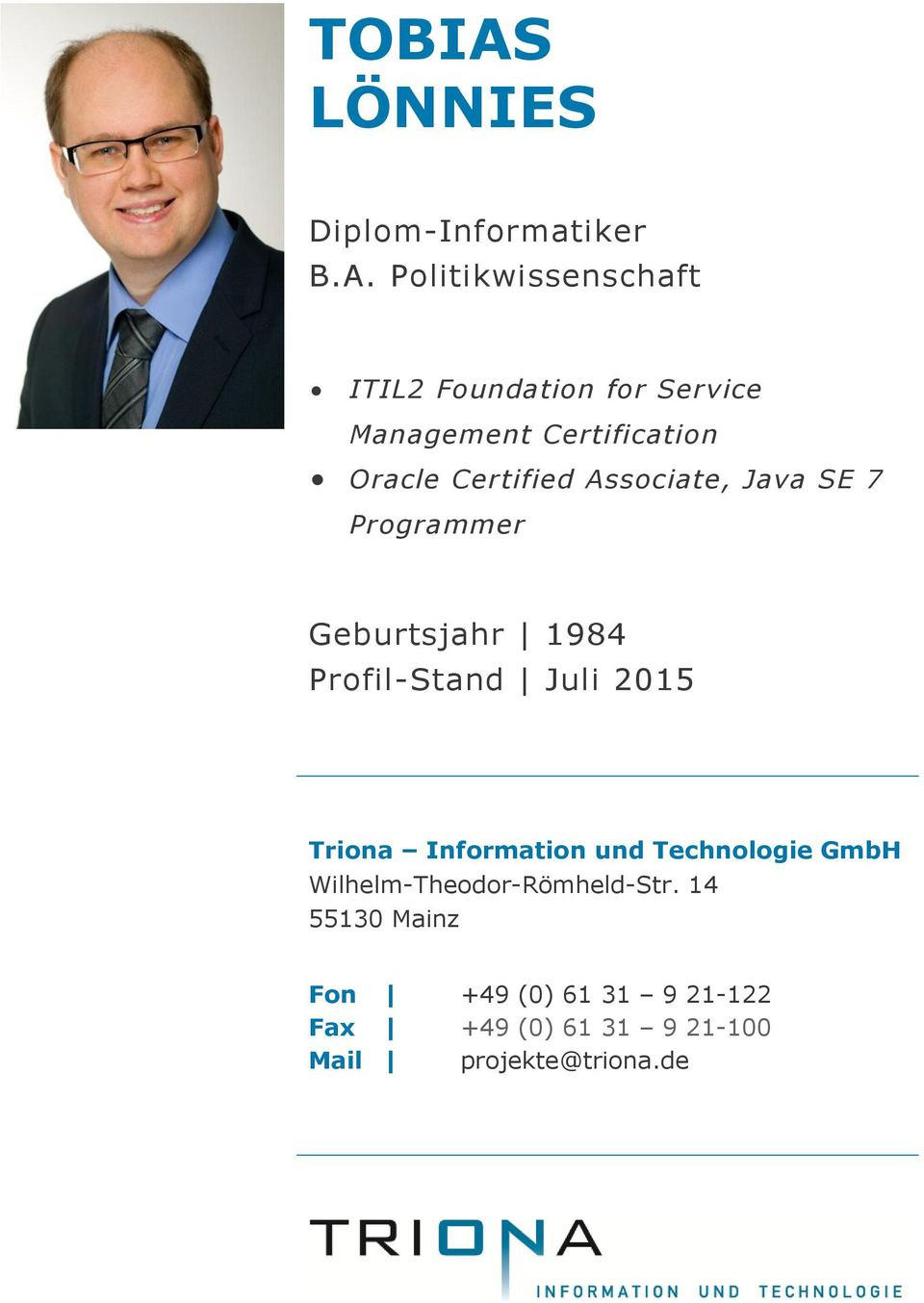 Politikwissenschaft ITIL2 Foundation for Service Management Certification Oracle Certified