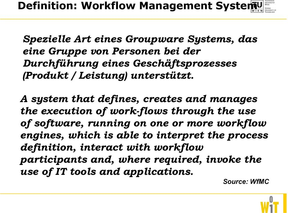 A system that defines, creates and manages the execution of work-flows through the use of software, running on one or more