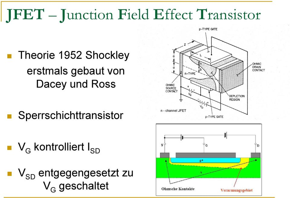 Ross Sperrschichttransistor n - channel JFET G