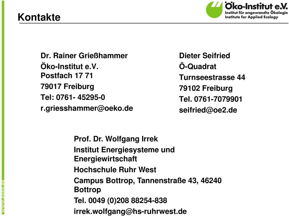 0761-7079901 seifried@oe2.dede Prof. Dr.
