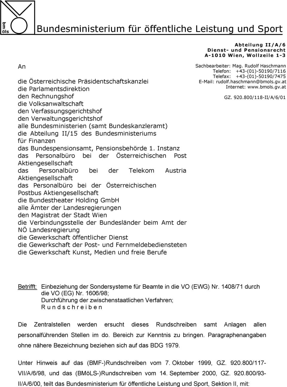 Bundespensionsamt, Pensionsbehörde 1.