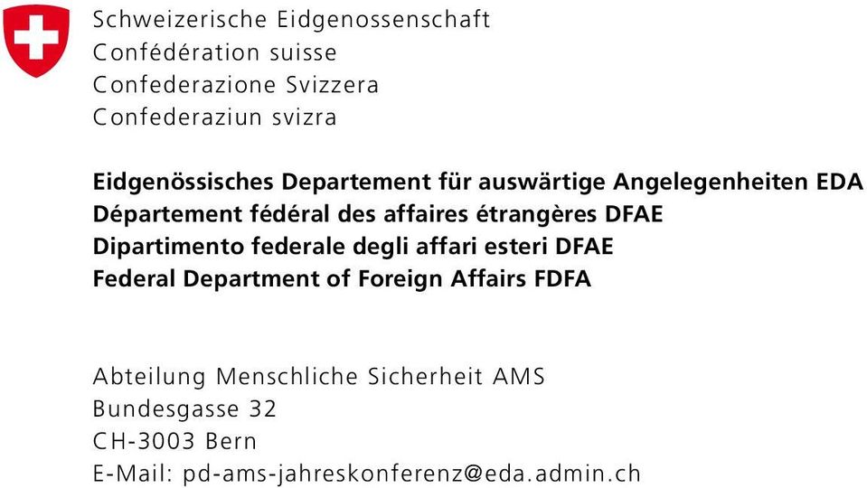 étrangères DFAE Dipartimento federale degli affari esteri DFAE Federal Department of Foreign Affairs