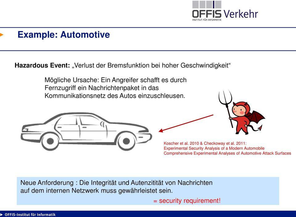 2011: Experimental Security Analysis of a Modern Automobile Comprehensive Experimental Analyses of Automotive Attack Surfaces Neue