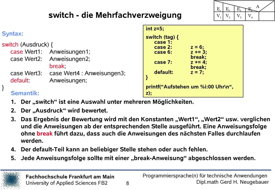 int z=5; switch (tag) case 1: case 2: z = 6; case 6: z += 3; break; case 7: z += 4; break; default: z = 7; printf( Aufstehen um %i:00 Uhr\n, z); 3.