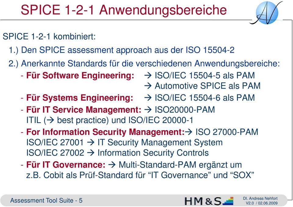 Engineering: ISO/IEC 15504-6 als PAM - Für IT Service Management: ISO20000-PAM ITIL ( best practice) und ISO/IEC 20000-1 - For Information Security Management: ISO