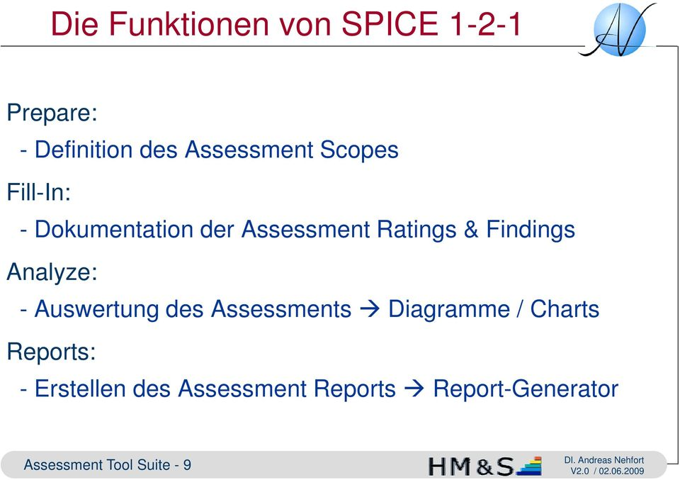 Analyze: - Auswertung des Assessments Diagramme / Charts Reports: -
