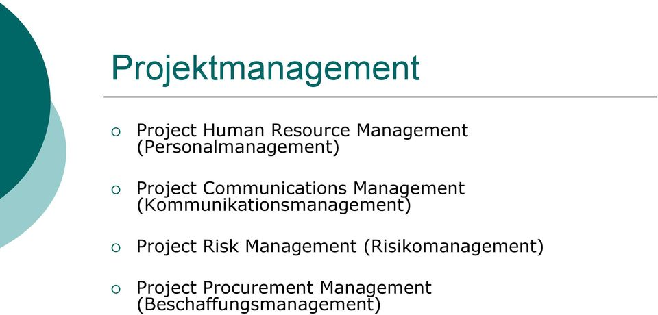 (Kommunikationsmanagement) Project Risk Management
