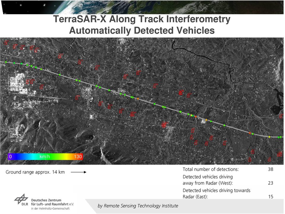 14 km by Remote Sensing Technology Institute Total number of detections: