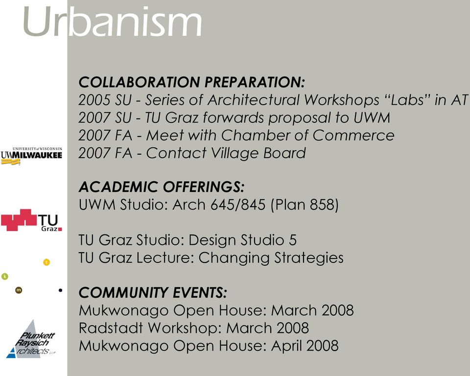 UWM Studio: Arch 645/845 (Plan 858) TU Graz Studio: Design Studio 5 TU Graz Lecture: Changing Strategies