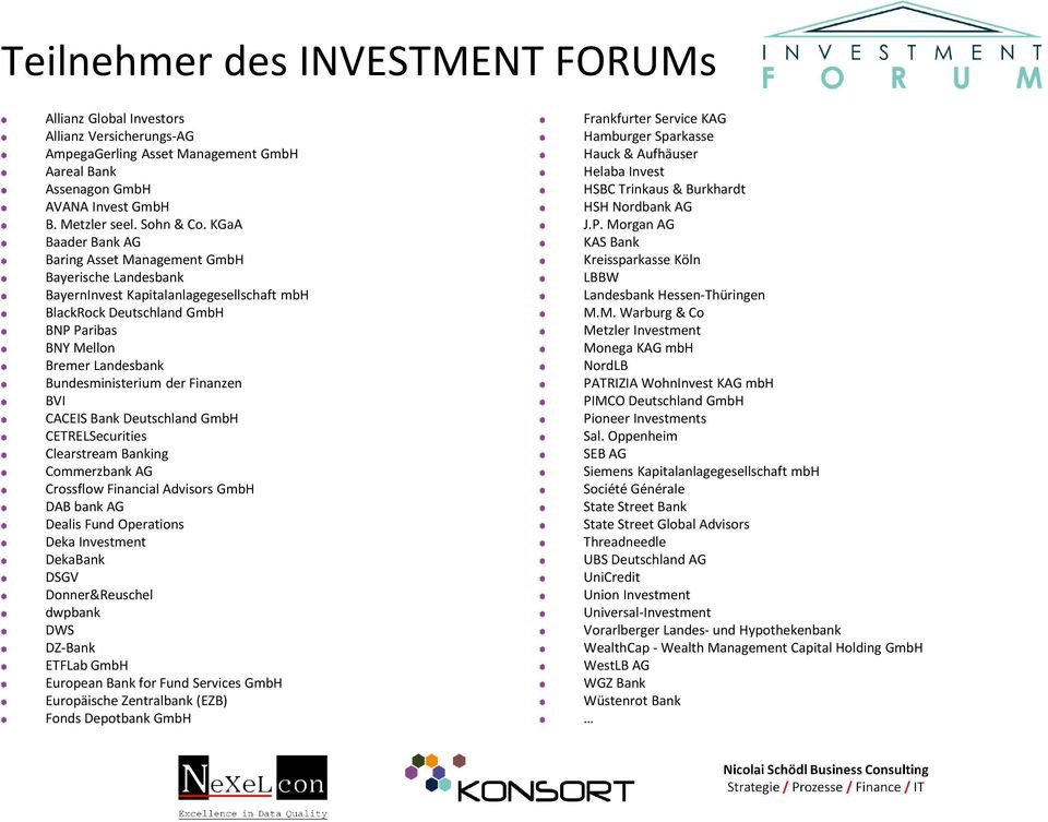 der Finanzen BVI CACEIS Bank Deutschland GmbH CETRELSecurities Clearstream Banking Commerzbank AG Crossflow Financial Advisors GmbH DAB bank AG Dealis Fund Operations Deka Investment DekaBank DSGV
