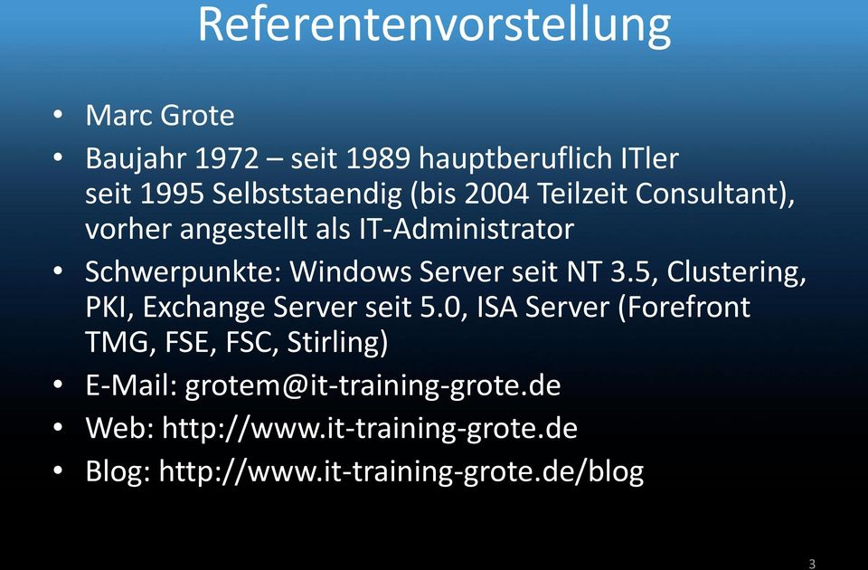 NT 3.5, Clustering, PKI, Exchange Server seit 5.