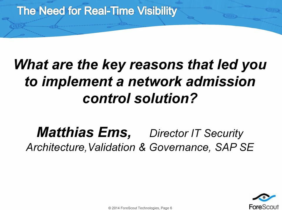 Matthias Ems, Director IT Security Architecture,Validation