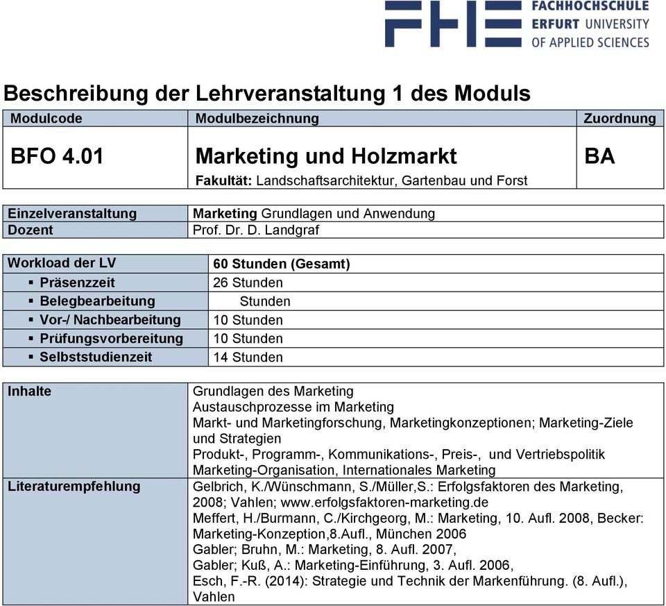 . D. Landgraf 60 (Gesamt) 26 14 Grundlagen des Marketing Austauschprozesse im Marketing Markt- und Marketingforschung, Marketingkonzeptionen; Marketing-Ziele und Strategien Produkt-, Programm-,