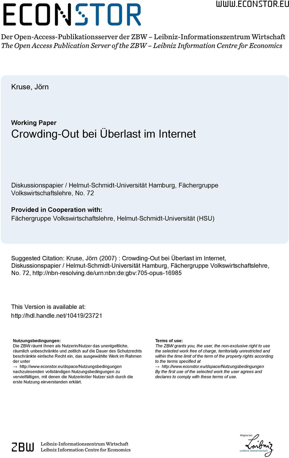 eu Der Open-Access-Publikationsserver der ZBW Leibniz-Informationszentrum Wirtschaft The Open Access Publication Server of the ZBW Leibniz Information Centre for Economics Kruse, Jörn Working Paper
