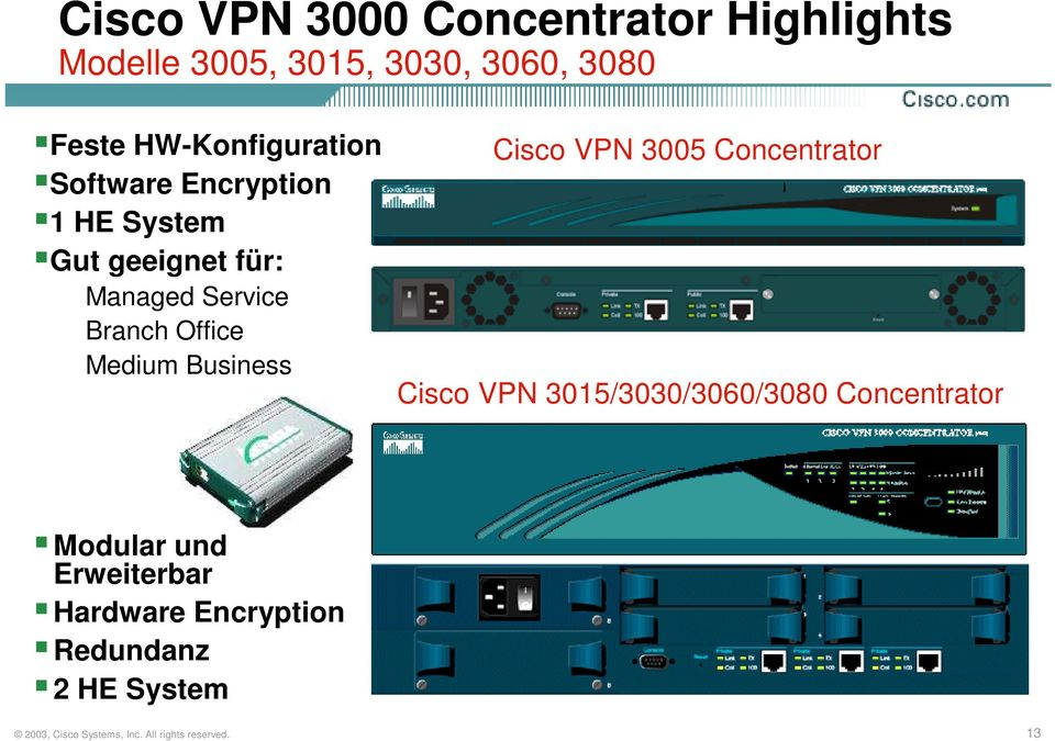 Branch Office Medium Business Cisco VPN 3005 Concentrator Cisco VPN