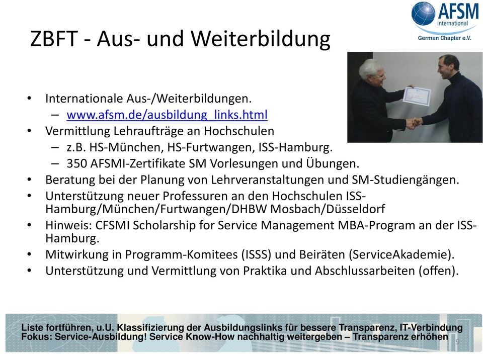 Unterstützung neuer Professuren an den Hochschulen ISS- Hamburg/München/Furtwangen/DHBW Mosbach/Düsseldorf Hinweis: CFSMI Scholarship for Service Management MBA-Program an der ISS- Hamburg.