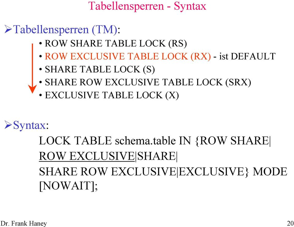 DEFAULT SHARE TABLE LOCK (S) SHARE ROW EXCLUSIVE TABLE LOCK (SRX) EXCLUSIVE TABLE