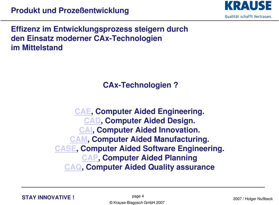 CAD, Computer Aided Design. CAI, Computer Aided Innovation. CAM, Computer Aided Manufacturing.