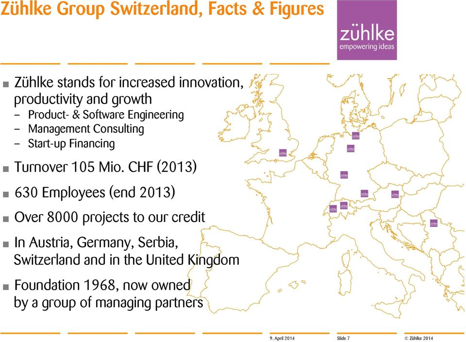 CHF (2013) 630 Employees (end 2013) Over 8000 projects to our credit In Austria, Germany, Serbia,