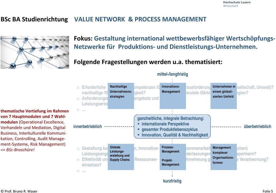 thematisiert: mittel-/langfristig thematische Vertiefung im Rahmen von 7 Hauptmodulen und 7 Wahlmodulen (Operational Excellence, Verhandeln und Mediation, Digital Business, Interkulturelle