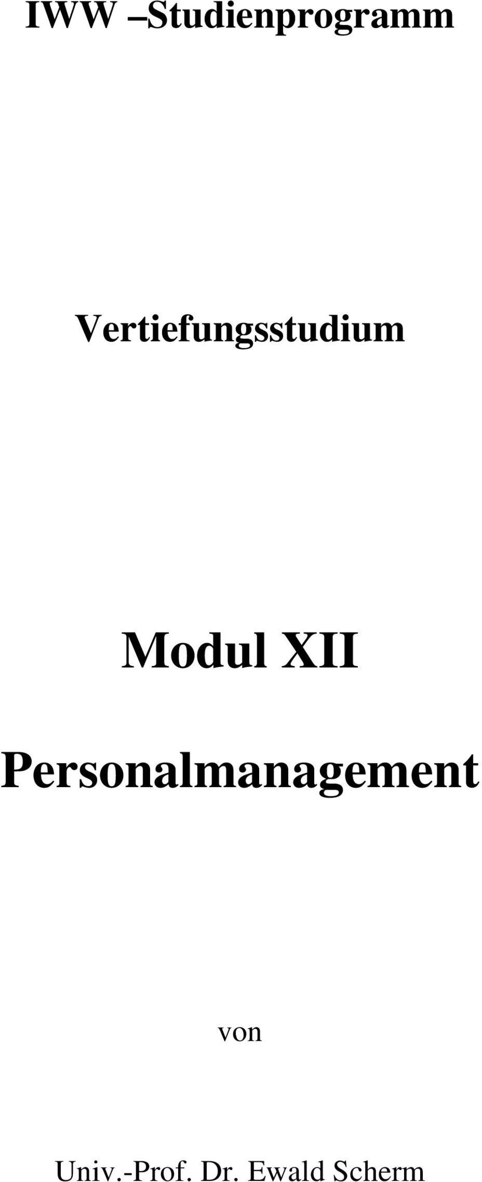 XII Personalmanagement